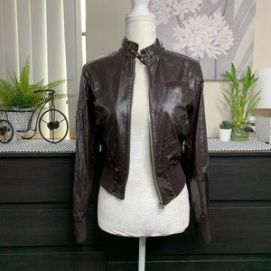 PLANET FUNK Brown Biker Faux Leather Jacket SMALL